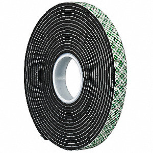 Double Coated  Tape,1/4In x 5 yd.,Black