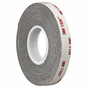 "Acrylic Foam Double Sided VHB Foam Tape, Acrylic Adhesive, 25.00 mil Thick, 2"" X 5 yd., Gray"