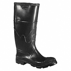 "16""H Men's Knee Boots, Steel Toe Type, PVC Upper Material, Black, Size 6"