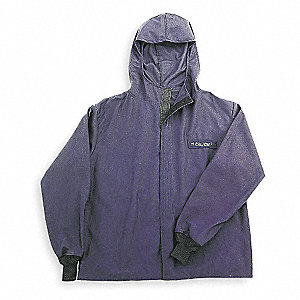 Flame-Resistant Jacket w/Hood,Navy,2XL