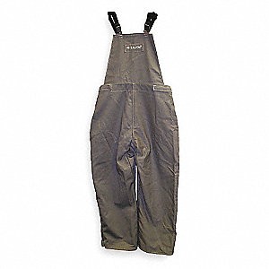 "Gray Bib Overalls, Cotton, Fits Waist Size: 48"" to 50"", 30"" Inseam, 40 cal./cm2 ATPV Rating"