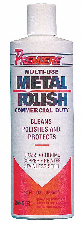Metal Polish,  12 oz,  Bottle,  Unscented Fragrance,  Liquid,  Ready to Use