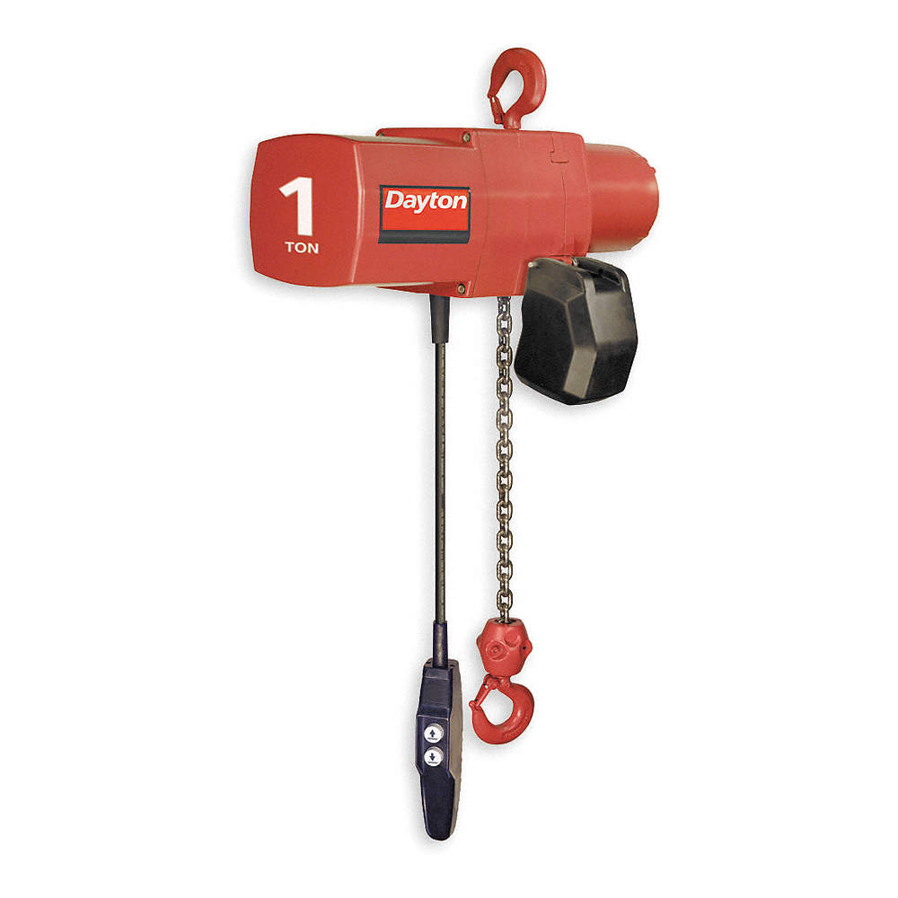 dayton h4 electric chain hoist, 2000 lb. load capacity, 115/230v, 15 ft. hoist  lift, 16 fpm - 3yb91|3yb91 - grainger  grainger