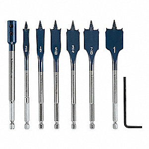 "Spade Bit Set,3/8"" to 1"",7 pc."