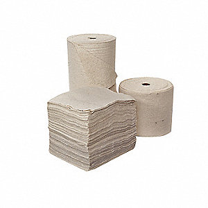 Medium, Natural Fibers Absorbent Roll, Fluids Absorbed: Oil Only/Petroleum, 150 ft. Length