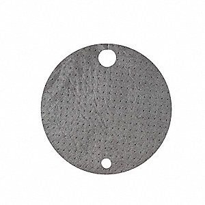 "22"" x 22"" Light Drum Top Absorbent Pad for Chemical / Hazmat, Gray&#x3b; PK25"