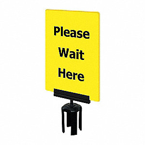 Acrylic Sign,Yellow,Please Wait Here