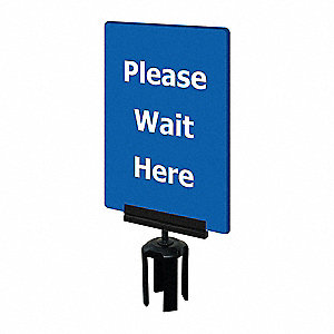 Acrylic Sign, Blue, Please Wait Here