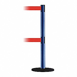 Barrier Post with Belt,7-1/2 ft. L,Red