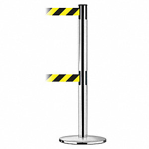 Barrier Post w/ Belt,38 In. H,Metal Base
