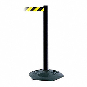 Barrier Post with Belt,PVC,Black
