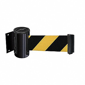 Retractable Belt Barrier, Yellow/Black Chevron
