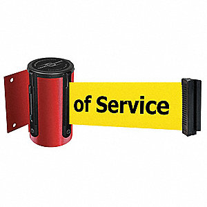 Retractable Belt Barrier, Yellow Belt With Black Writing, Out of Service