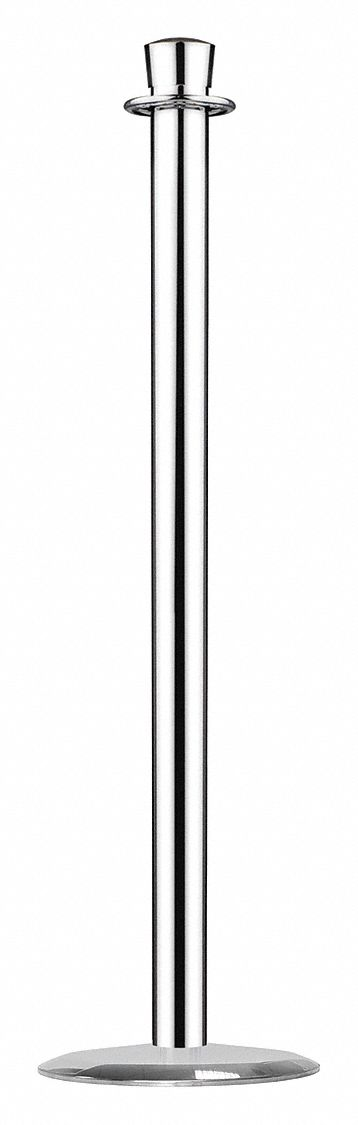 Urn Top Rope Post, Satin Chrome, Satin Chrome Post Finish, 36 1/2 in Height