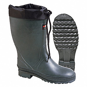 "13""H Women's Insulated Boots, Plain Toe Type, TR/Rubber/PU Upper Material, Green, Size 8"