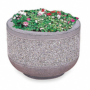 Security Planter,Round,24 In. L,17 In. H