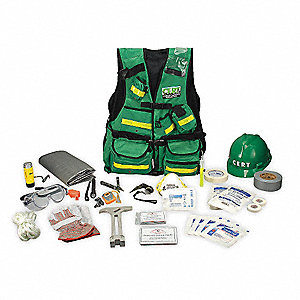 C.E.R.T. Vest Kit,25 Piece,Hi Viz Green