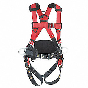 XL Construction Full Body Harness, 6000 lb. Tensile Strength, 420 lb. Weight Capacity, Red/Gray