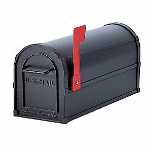 Heavy Duty Mailbox,Black,7.5x9.5x20.5 In