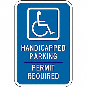 Text and Symbol Handicapped Parking Permit Required, High Intensity Prismatic Aluminum Handicap Park