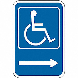 Symbol Handicapped Pictogram w/Right Arrow, High Intensity Prismatic Aluminum Handicap Parking Sign,