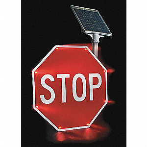 Stop LED Stop Sign, Red LED Color, Power Requirements: Solar