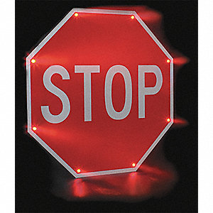 Stop LED Stop Sign, Red LED Color, Power Requirements: 110V