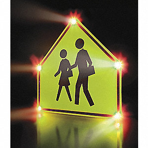 School Crossing LED School Zone Sign, Yellow LED Color, Power Requirements: 110V