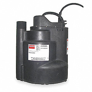 Submersible Sump Pump,  1/4 HP,  Polypropylene,  115VAC,  Vertical Float