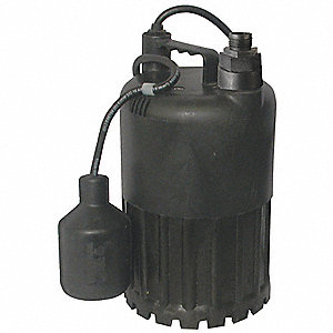 1/2 HP Submersible Sump Pump, Tether Switch Type, Polypropylene Base Material