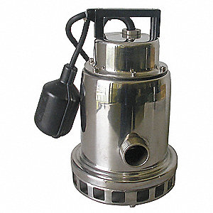1/3 HP Submersible Sump Pump, Tether Switch Type, Stainless Steel Base Material