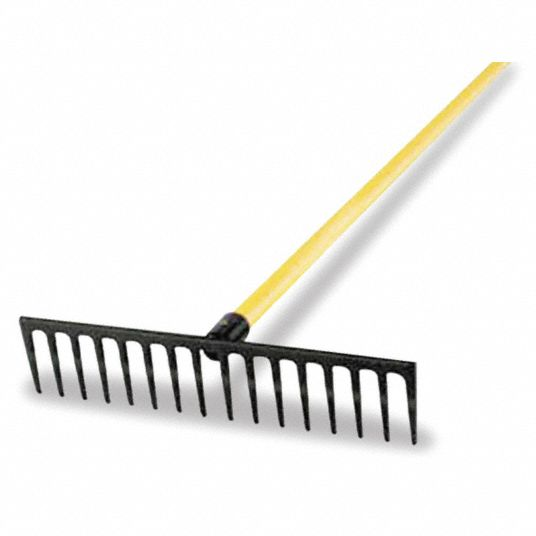 Road Rake, Steel Tine Material, Length of Tines 4 in, Overall Width of Tines 18 in