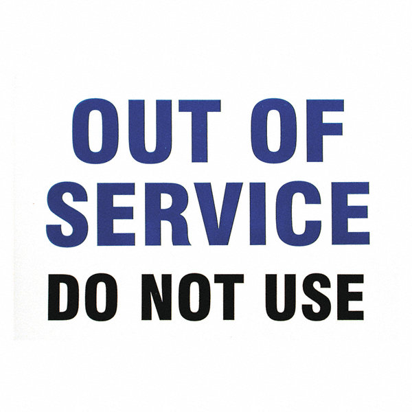 Brady Out Of Service No Header Vinyl 7 Quot X 10 Quot Magnetic
