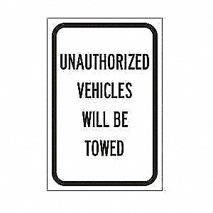 Traffic Sign,18 x 12In,BK/WHT,Text