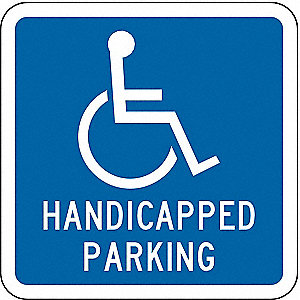 PARKING SIGN,12 X 12IN,WHT/BL,G-42,