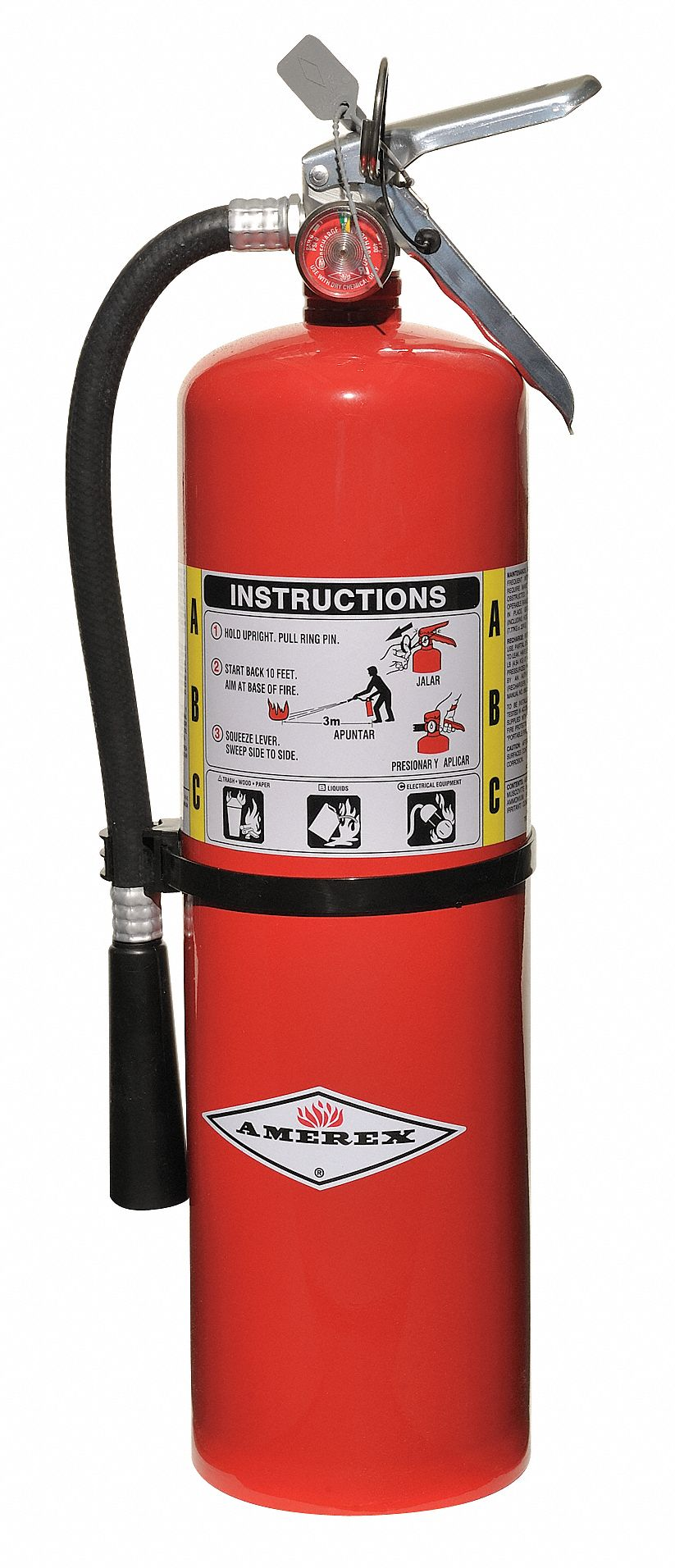 Fire Extinguisher, Dry Chemical, Monoammonium Phosphate, 10 lb, 4A:80B:C UL Rating