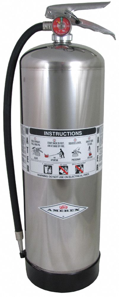 Fire Extinguisher, Water, Water, 2.5 gal, 2A UL Rating