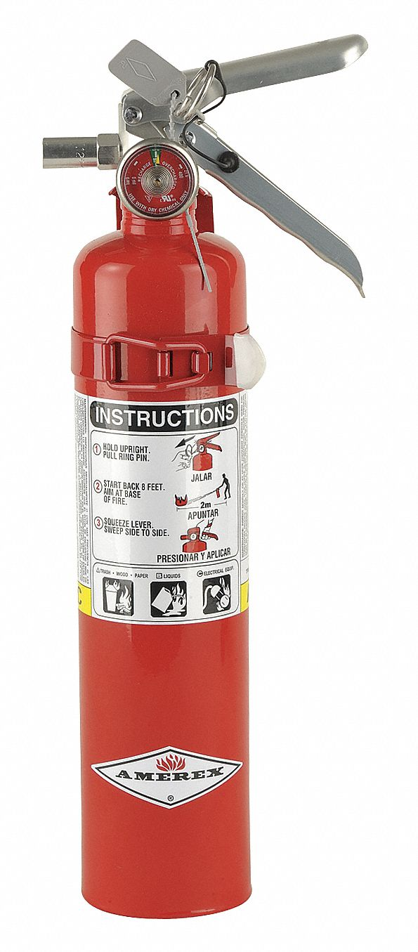 Fire Extinguisher, Dry Chemical, Monoammonium Phosphate, 2.5 lb, 1A:10B:C UL Rating