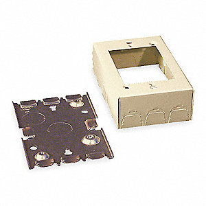 Steel Shallow Switch and Receptacle Box For Use With 500 and 700 Raceways, Ivory