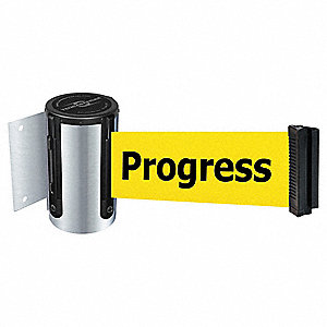 Retractable Belt Barrier, Yellow Belt With Black Writing, Cleaning in Progress
