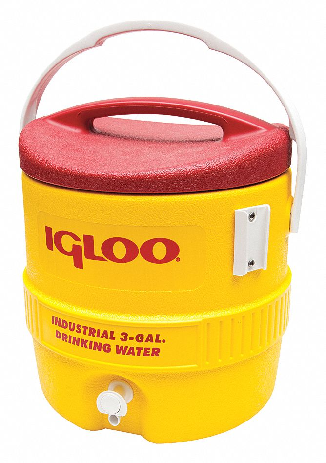 Plastic,  3.0 gal,  Beverage Dispenser,  Up to 1 day Ice Retention,  Yellow