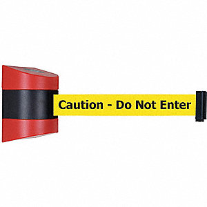 Retractable Belt Barrier, Yellow Belt With Black Writing, Caution - Do Not Enter