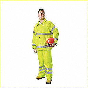 "Men's Hi-Visibility Yellow/Green PVC Rain Suit, Size: S/M, Fits Chest Size: 38"" to 40"""