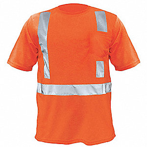 Orange Polyester, DuPont(TM) Teflon® fabric protector T-Shirt, Size: L, ANSI Class 2