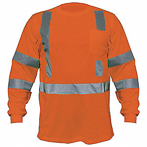 Orange Polyester, DuPont(TM) PTFE fabric protector Long Sleeve T-Shirt, Size: 5XL, ANSI Class 3