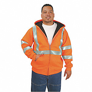 Orange Bonded Polyester, DuPont(TM) Teflon® fabric protector Hooded Sweatshirt, Size: XL, ANSI Class