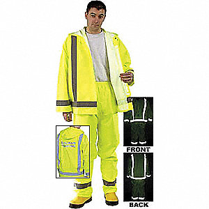 Rain Pants, High Visibility: Yes, ANSI Class: Class E, Polyester, Polyurethane, 3XL, Yellow/Green