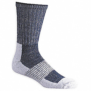 Crew Polyester, Nylon, Cotton, Lycra Hiking Socks, Men's, White/Navy Blue, 1 PR