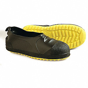 "4""H Men's Overshoes, Steel Toe Type, PVC Upper Material, Black/Yellow, Fits Shoe Size 12 to 14"