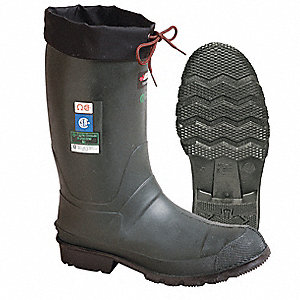 "13""H Men's Insulated Boots, Steel Toe Type, TR, Rubber, Polyurethane Upper Material, Green, Size 9"